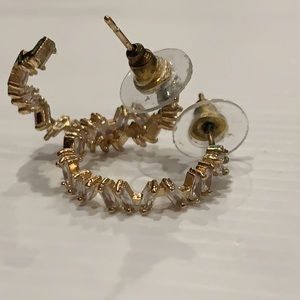 STUDEX gold hoop earrings with crystals